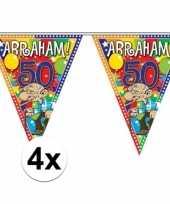 Feest 4x stuks abraham 50 jaar versiering vlaggenlijnen 10 meter