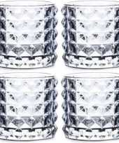 Feest 4x theelichthouders lyon lichtblauw glas 10 cm