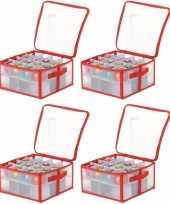 Feest 4x transparante kerstballen opbergboxen voor 32 kerstballen 6 cm
