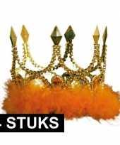Feest 4x verkleed kroon goud met oranje stenen en veren