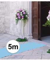 Feest 5 meter lichtblauwe decoratie loper 1 meter breed