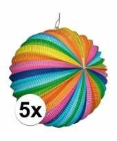 Feest 5 stuks fel gekleurde lantaarns rond