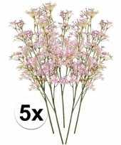 Feest 5 x roze kroonkruid kunstbloemen tak 68 cm