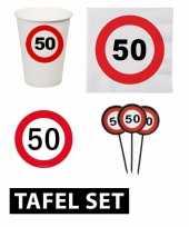 Feest 50 jaar tafel versiering pakket verkeersbord