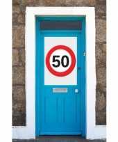 Feest 50 jaar verkeersbord deurposter a1