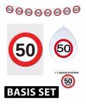 Feest 50 jaar versiering pakket verkeersbord basic