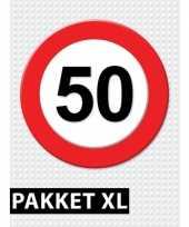 Feest 50 jarige verkeerbord decoratie pakket xl