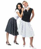 Feest 50 s rok zwart met witte stippen