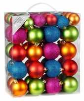 Feest 50x gekleurde mix kunststof kerstballen pakket 4 6 cm