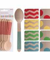 Feest 50x houten duurzame wegwerp lepels groene zigzag strepen 16 cm