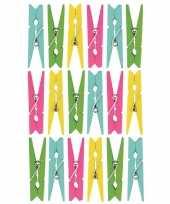 Feest 54x gekleurde mini knijpertjes decoratie materiaal