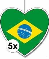 Feest 5x brazili hangdecoratie harten 28 cm