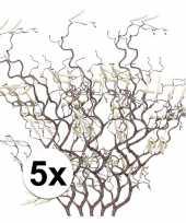 Feest 5x bruine kronkelhazelaar kunstbloemen tak 66 cm