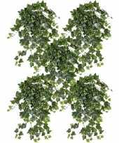 Feest 5x groene witte hedera helix klimop kunstplant 65 cm voor buiten