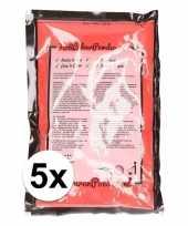 Feest 5x holi kleurpoeder rood