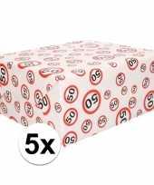 Feest 5x inpakpapier cadeaupapier 50 jaar 300 x 70 cm op rol