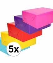 Feest 5x inpakpapier pakket felle kleurtjes 70 x 200 cm