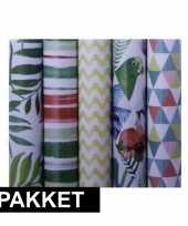 Feest 5x inpakpapier rollen voordeelpakket met verschillende prints