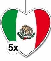 Feest 5x mexico hangdecoratie harten 28 cm