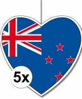 Feest 5x nieuw zeeland hangdecoratie harten 28 cm