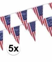 Feest 5x plastic amerikaanse vlaggetjes slingers