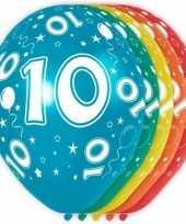 Feest 5x stuks 10 jaar thema versiering heliumballonnen 30 cm