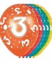 Feest 5x stuks 3 jaar thema versiering heliumballonnen 30 cm