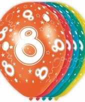 Feest 5x stuks 8 jaar thema versiering heliumballonnen 30 cm