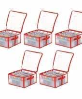 Feest 5x transparante kerstballen opbergboxen voor 32 kerstballen 6 cm