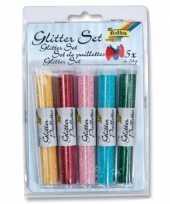 Feest 5x tube glitterpoeder gekleurd 14 gram