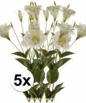 Feest 5x wit groene lisianthus kunstbloemen tak 85 cm