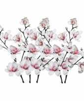 Feest 5x witte roze magnolia beverboom kunsttakken kunstplanten 100 cm