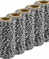 Feest 5x zwart wit bakkerstouw 50 meter hobby materiaal
