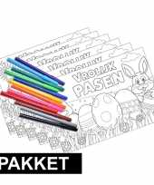 Feest 6 pasen kleurplaten placemats inclusief stiften