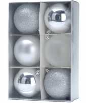 Feest 6 zilveren kerstballen 8 cm