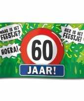 Feest 60e verjaardag straatvlag 100x150 cm