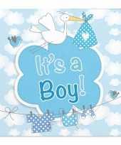 Feest 60x geboorte jongen babyshower servetten blauw 25 x 25 cm papier
