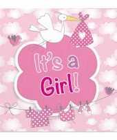 Feest 60x geboorte meisje babyshower servetten roze 25 x 25 cm papier