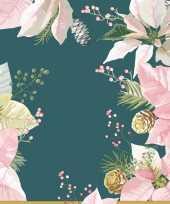 Feest 60x kerst servetten groen roze kerstster bloemen 33 x 33 cm