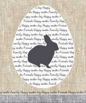 Feest 60x pasen servetten konijn rustiek grijs beige 33 x 33 cm