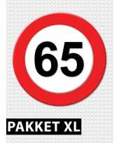 Feest 65 jarige verkeerbord decoratie pakket xl