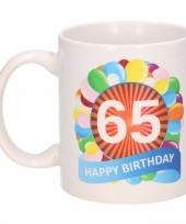 Feest 65e verjaardag cadeau beker mok 300 ml 10084004