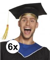 Feest 6x afstudeerhoedje geslaagd hoedje voor volwassenen