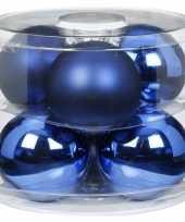 Feest 6x blauwe glazen kerstballen 10 cm glans en mat