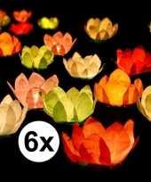 Feest 6x bruiloft huwelijk drijvende kaarsen lantaarns bloemen 29 cm