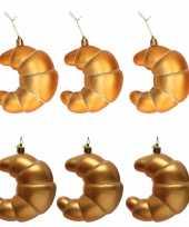 Feest 6x croissants kerstboomhangers kerstornamenten kunststof 12 cm