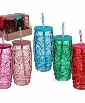 Feest 6x gekleurde glazen tiki drinkbekers met rietje 550 ml