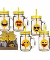 Feest 6x glazen emotion drinkbekers drinkpotjes met rietje 450 ml