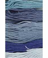 Feest 6x hobby naaigaren borduurgaren blauwtinten 1mm