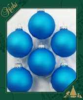 Feest 6x intens blauwe glazen kerstballen mat 7 cm kerstboomversiering